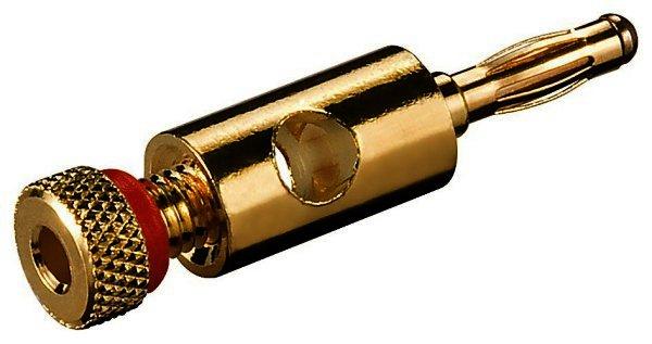 Bananenstecker mit Schraubanschluß vergoldet, 4 mm, Farbring rot für Kabel 4,5mm bis 5,5mm