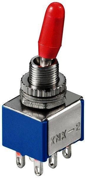 Kippschalter Miniatur 2xEIN-EIN Lötösen - Metallhebel mit roter Plastikkappe