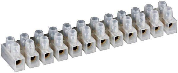Lüsterklemme , transparent weiß 12er Reihe mit doppelter Schraubklemme