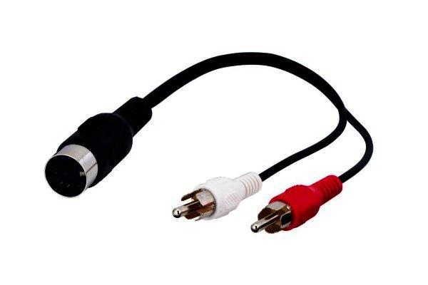 Audio-Video-Kabel 0,2 Meter 1x5-polig DIN-Kupplung > 2 x Cinchstecker