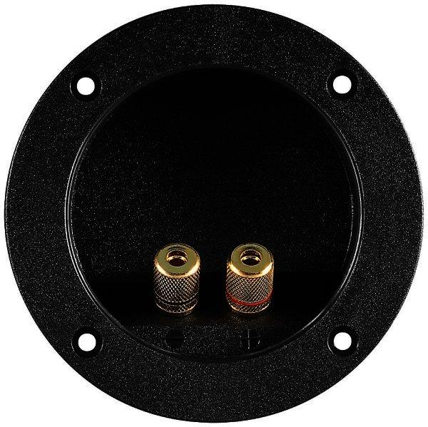 Lautsprecher-Terminal,2 pol. rot/schwarz,rund mit Farbring - für versenkten Einbau - für Kabel 6 mm