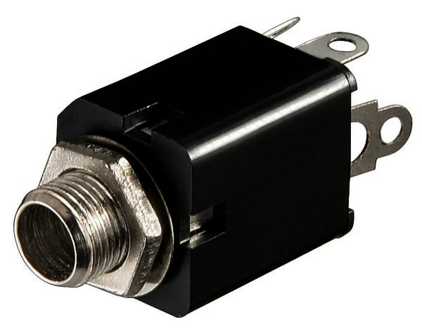 Klinkeneinbaubuchse - 6,35 mm - stereo Plastikausführung mit Schaltkontakt