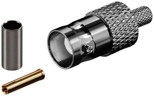 BNC-Crimpkupplung für RG 58/U Kabel mit Gold Pin