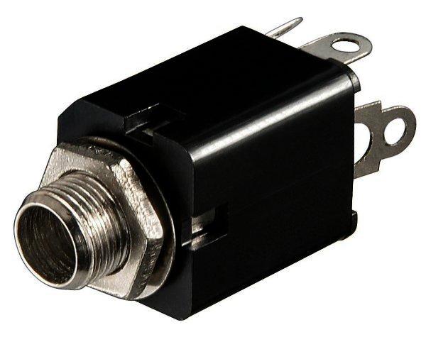 Klinkeneinbaubuchse - 6,35 mm - mono Plastikausführung mit Schaltkontakt