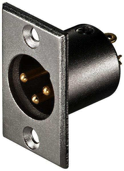 Mikrofon-Einbaustecker, 3-polig vergoldete Kontakte