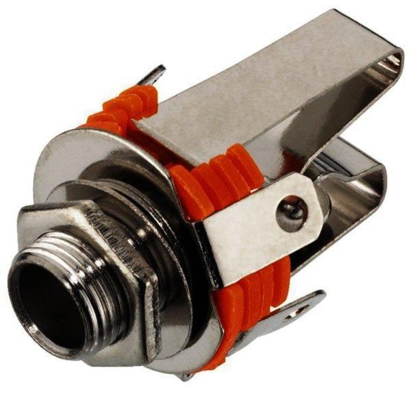 T-214J - 6,3mm Stereo Klinken-Einbaubuchse, verchromt