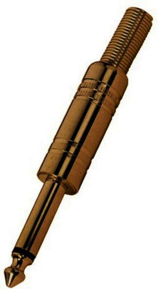 T-208G - 6,3mm Mono Klinkenstecker Metall, vergoldet