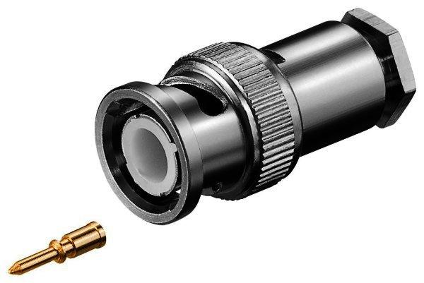 BNC-Stecker mit Schraubanschluss mit Gold Pin für RG 58/U Kabel