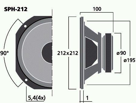 SPH-212 - HiFi-Bass, 120WMAX, 8 Ohm