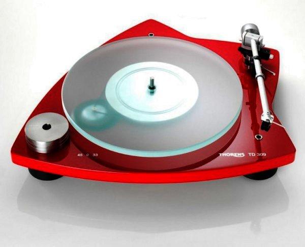 Thorens TD 309 - manueller Plattenspieler - Hochglanz rot