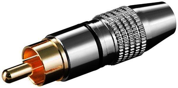 Cinchstecker schwarz high quality Metallausführung vergoldete Kontakte - für Kabel ø 6,5 mm - löt