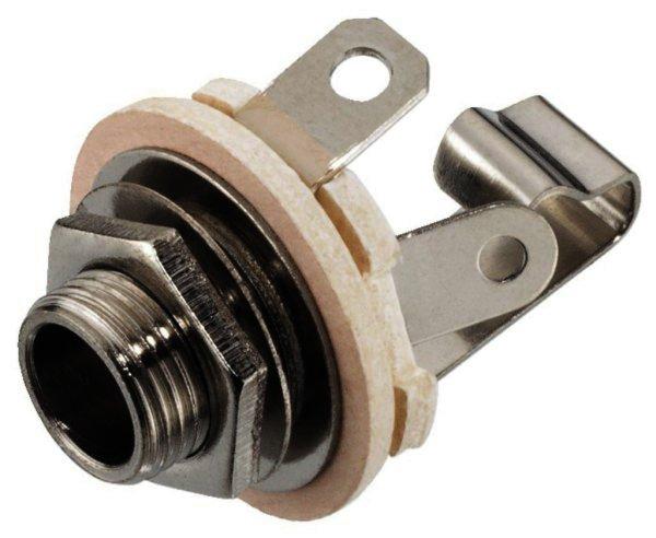 T-211 6,3mm Mono-Klinken-Einbaubuchse, verchromt, Ø 9mm