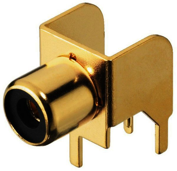 T-709G Cinch Einbaubuchse vergoldet, RM 7,5x10mm