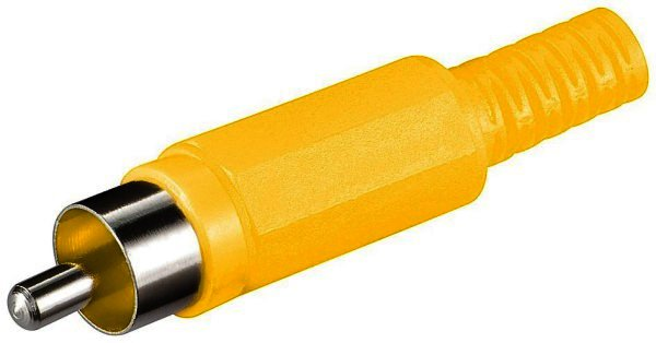 Cinchstecker gelb Plastikausführung mit Knickschutz