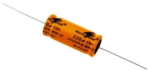Bipolarer Elektrolytkondensator 220µF, RM 45mm, 2 Stück