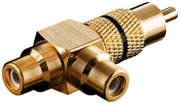 Audio-Adapter mit schwarzem Farbring Cinch Stecker>2xCinch Kupplung-vergoldet