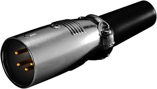 Mikrofonstecker, 4-polig Goldkontakte geschraubte Zugentlastung