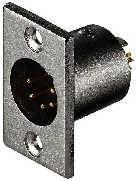 Mikrofon-Einbaustecker, 5-polig vergoldete Kontakte