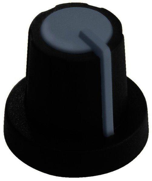 KN-11/GR Drehknopf Ø 11mm für Achsen Ø 6mm schwarz/grau