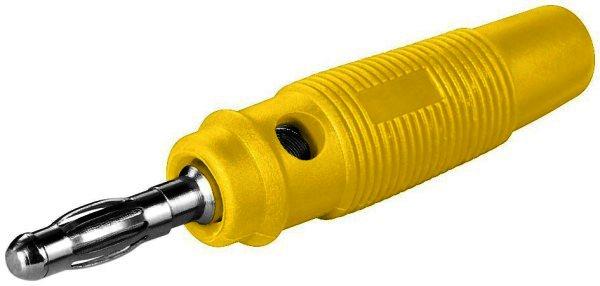 Bananen-Laborstecker gelb mit Querloch 4 mm, trittfest