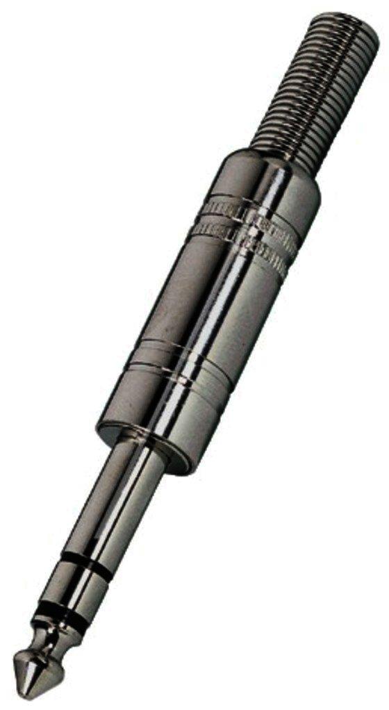 Klinken-Kupplung 3,5mm Stereo verchromt mit Kabel-Knickschutz