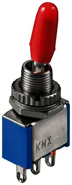 Kippschalter Miniatur EIN-EIN Lötösen - Metallhebel mit roter Plastikkappe