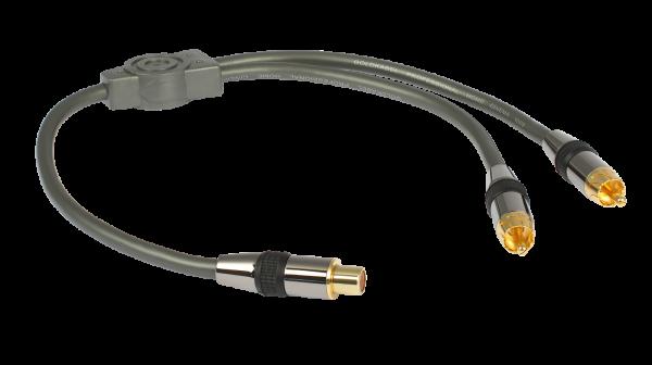 Goldkabel Cinch Y-Adapter - 1 Cinchkupplung 2 Cinchstecker
