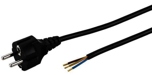 AC-203/SW Netzkabel - Schukostecker auf Aderendhülsen - 2 Meter
