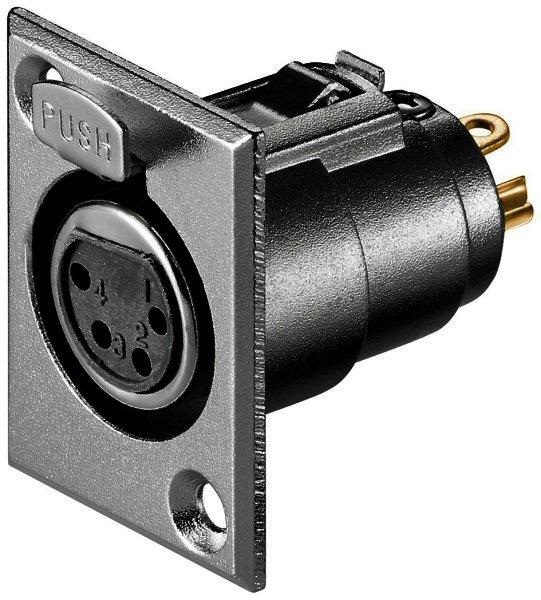Mikrofon-Einbaubuchse, 4-polig mit Verriegelung, vergoldet