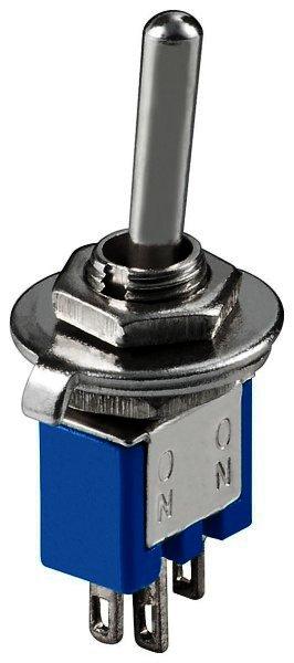 Kippschalter Subminiatur 1xUM 3 Pins blaues Gehäuse - mit blanken Metallhebel