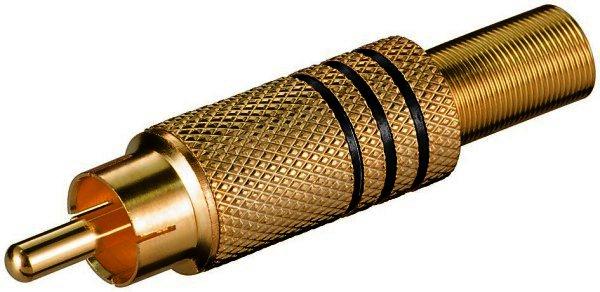 Cinchstecker schwarz vergoldet mit Knickschutz - für Kabel ø 7 mm