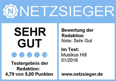 """Netzsieger.de hat Musikus Hifi mit """"sehr gut"""" getestet"""